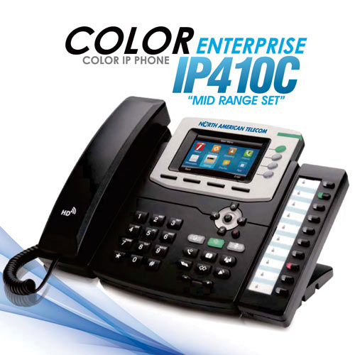 Advanced VoIP Phones from North American Telecom. Color IP Phone the Enterprise IP410C Midrange Set